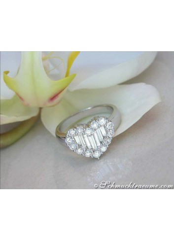 Exquisite Diamond Heart Ring with Taper Diamonds