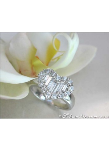 Exquisite Diamond Heart Ring with Baguette Diamonds