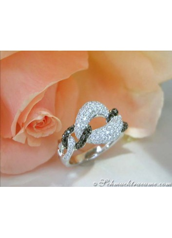Elegant Black & White Diamond Ring