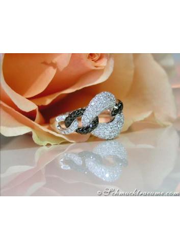 Elegant Black & White Diamond Ring