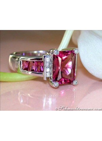 Glorious Pink Tourmaline Ring with Diamonds