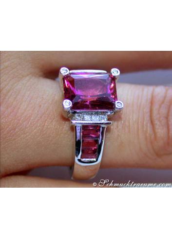 Pink Turmalin Ring mit Diamanten