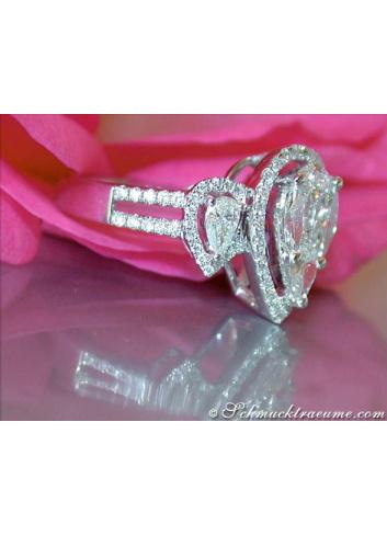 Unique Diamond Pear Ring