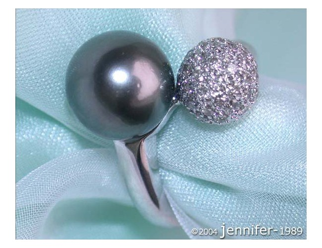 Glamorous Tahitian Pearl Ring with Diamond Pavé Ball