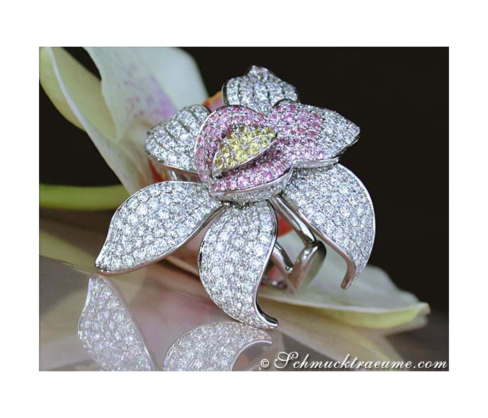 Diamanten Orchidee Ring mit Saphiren