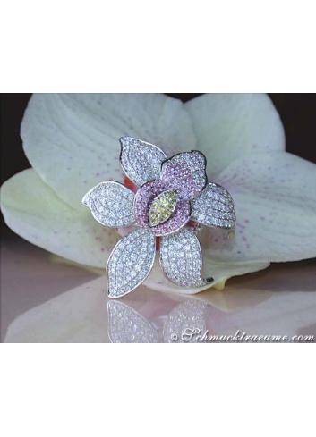 Diamanten Orchidee Ring mit Saphiren