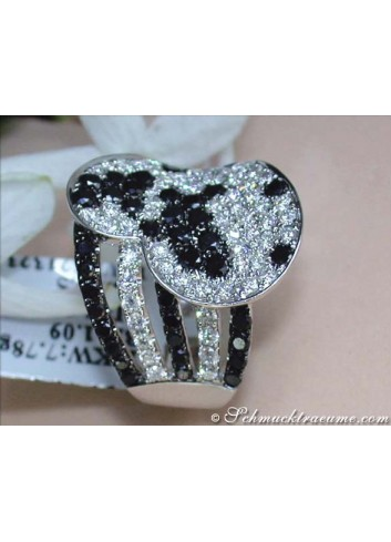 Unusual Black & White Diamond Heart Ring