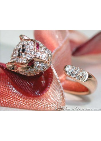 Attractive Panther Ring with Diamonds