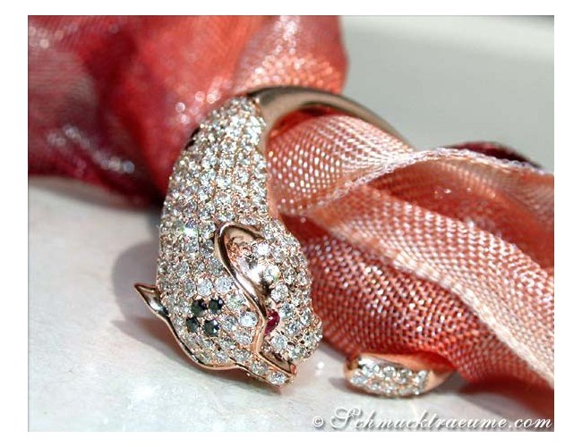 Panther Ring mit Diamanten