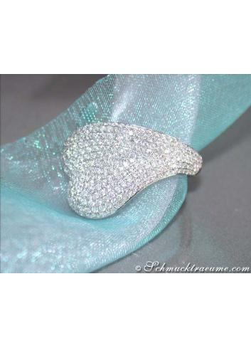 Unusual Diamond Heart Ring in White gold 18k