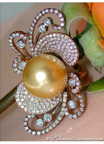 Magnificent Golden Southsea Pearl Ring with Diamonds