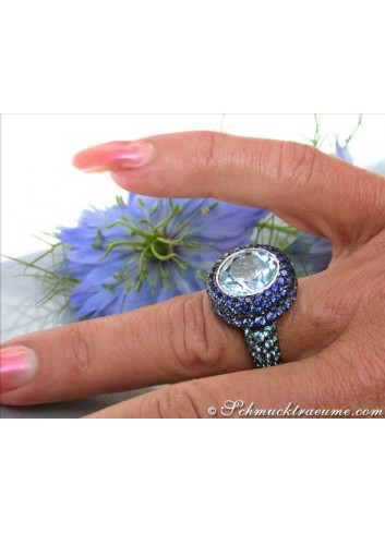Spectacular Blue Topaz Ring with Sapphires
