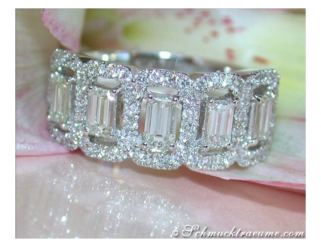 Precious Eternity Ring with Emerald Cut Diamonds