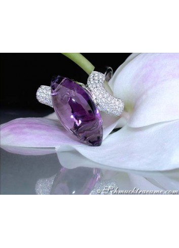 Stately Amethyst Diamond Ring
