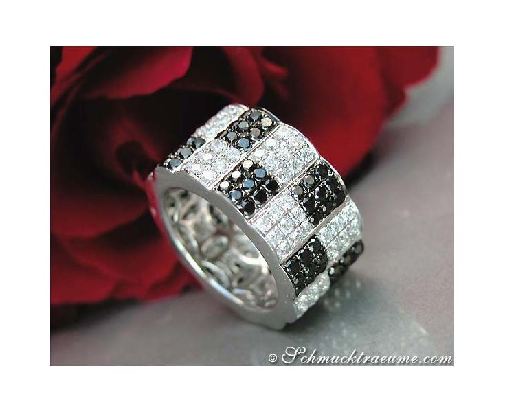 Minimalist Eternity Ring with Black & White Diamonds