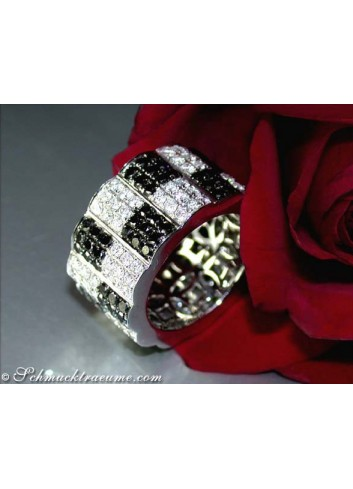 Schwarze Diamanten & Brillanten Memory Ring / Memoire Ring