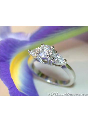 Brillant Solitär Ring mit Tropfen Diamanten