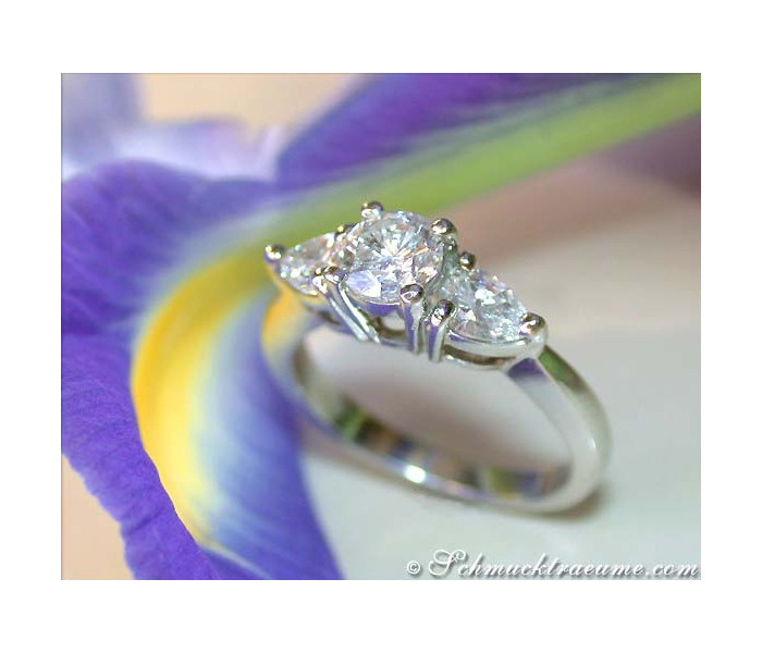 Feminine Diamond Solitaire Ring with Pear Shaped Diamonds