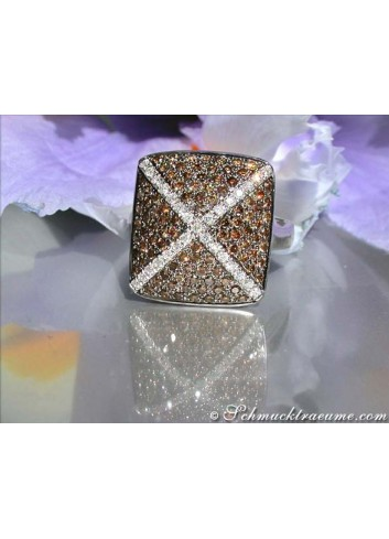 Sporty Natural Brown & White Diamond Ring