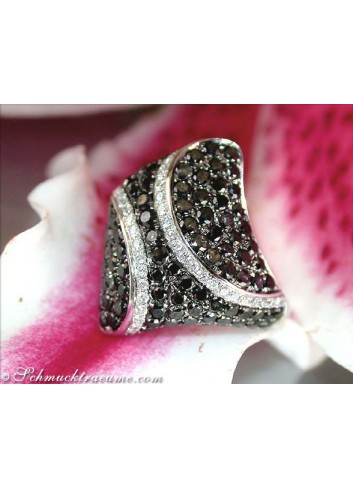 Solid Black & White Diamond Rhombic Style Ring