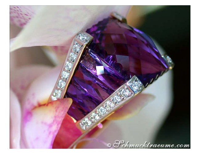 Unique Amethyst Ring with Diamonds