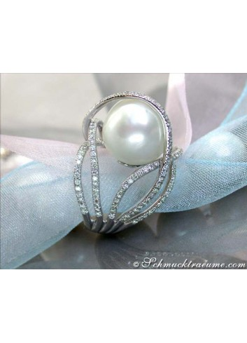 Excellent Southsea Pearl Ring with Diamonds