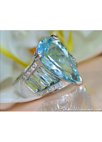 Huge Aquamarine Drop Ring with Diamonds