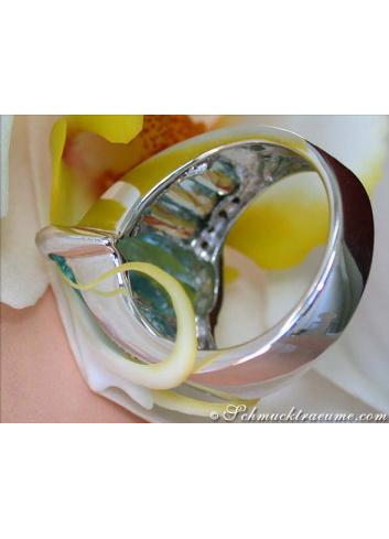Huge Aquamarine Pear Ring with Diamonds