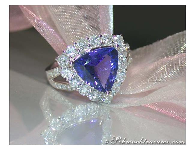 Premium Tanzanite Ring with Diamonds