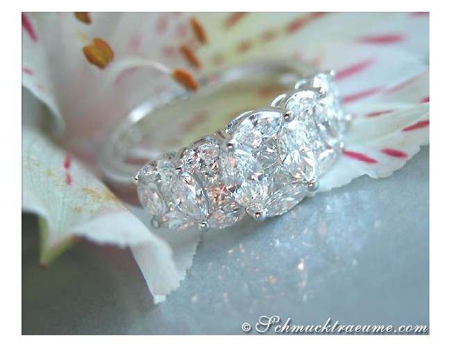 Exquisite Marquise and Princess Cut Diamond Ring