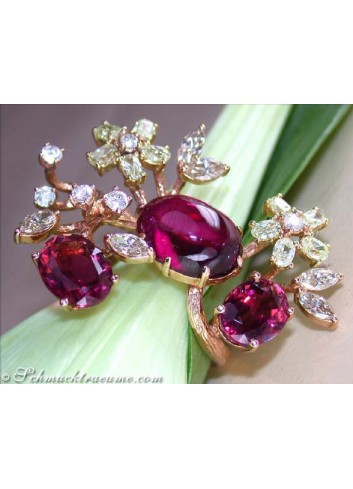 Spectacular Pink Tourmaline Diamond Blossom Ring