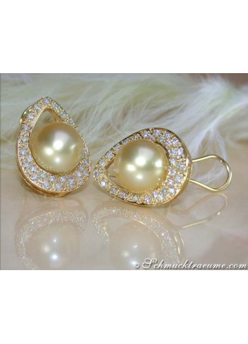 Golden Southsea Pearl Studs with Diamonds (Mikimoto Design)