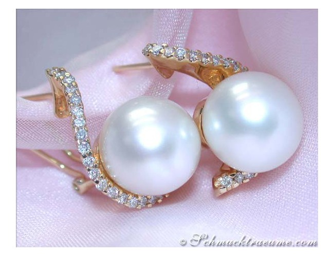 Beautiful South Sea Pearl Earrings with Diamonds