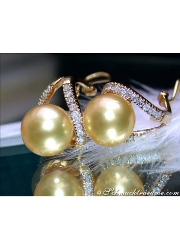 Attractive Golden South Sea Pearl Earrings with Diamonds