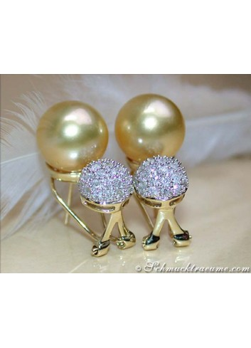Golden Southsea Pearl Earrings with Diamond Pavé Balls