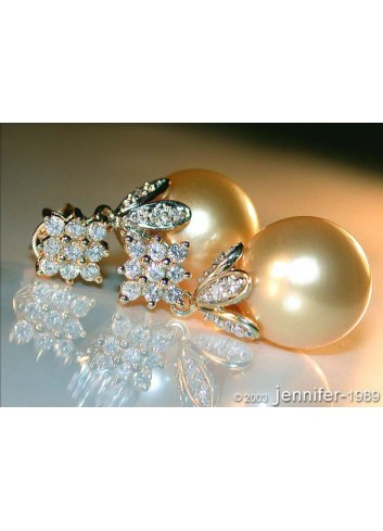 Golden Southsea Pearl Earrings with Diamond Squares