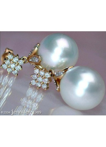 Southsea Pearl Earrings with Diamond Squares