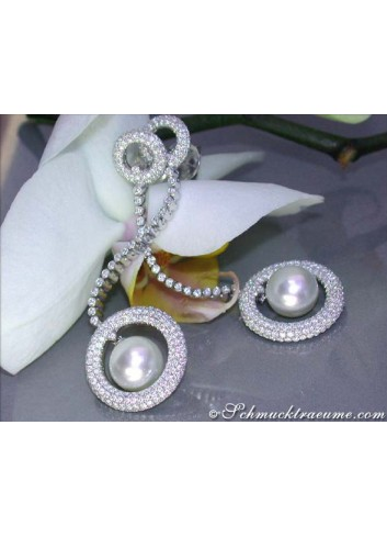Impressive South Sea Pearl Earrings with Diamonds (70 mm)