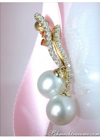 Picture Perfect South Sea Pearl Earrings with Diamonds