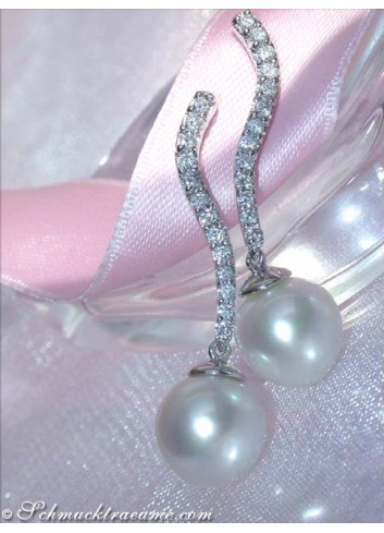 Pretty Southsea Pearl Earrings with Diamonds