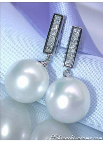 Timeless Southsea Pearl Earrings with Diamonds