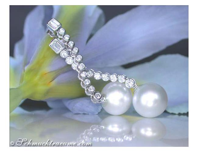 Long Southsea Pearl Dangling Earrings with Diamonds