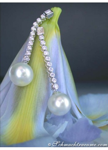 Long Southsea Pearl Dangling Earrings with Diamonds