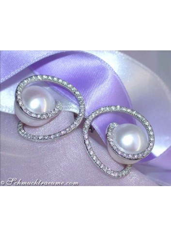 Fabulous Southsea Pearl Earrings with Diamonds