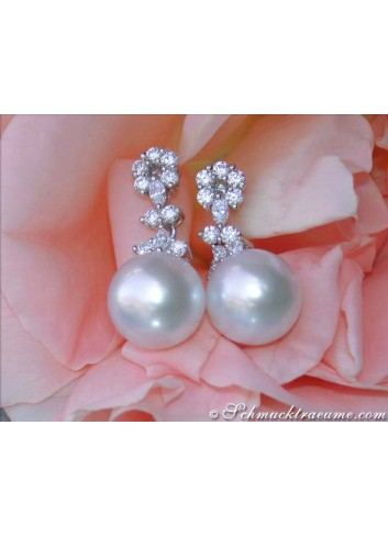 Unique Southsea Pearl Earrings with Diamonds