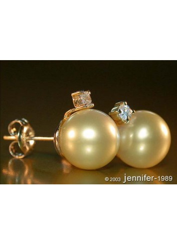 Bright Golden Southsea Pearl Studs with Diamonds