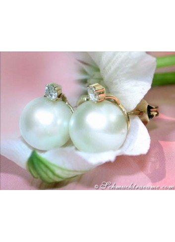 Beautiful Southsea Pearl Studs with Diamonds in Yellow Gold 14k