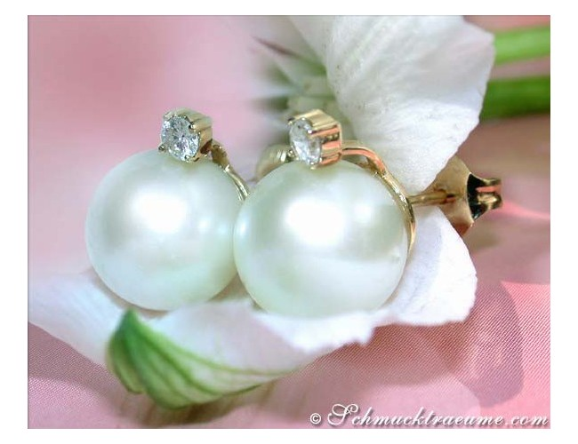 Beautiful Southsea Pearl Studs with Diamonds
