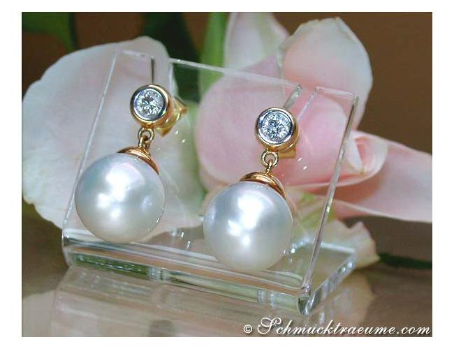 Südseeperlen Ohrringe mit Brillanten in Gelbgold