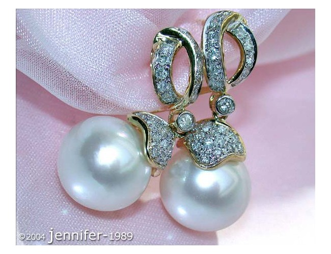 Timelessly Elegant Southsea Pearl Earrings with Diamonds